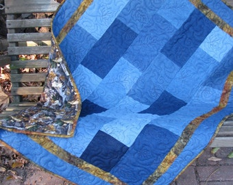 Denim Quilt - Camouflage Flannel- Baby Quilt, Youth Quilt