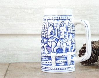 Vintage Blue and White Beer Stein, 1315, Gifts for Man