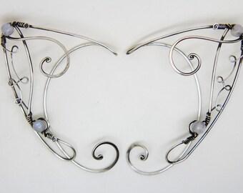 Elf Ear cuffs (Sterling silver and Rainbow moonstone )