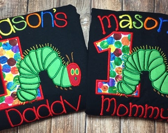 Custom matching hungry little caterpillar party parent shirts