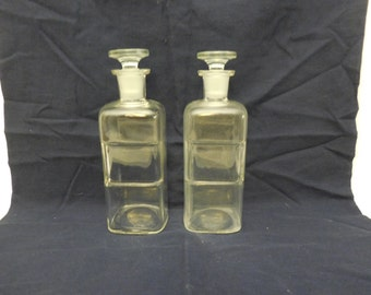 Pair of Vintage Label Under Glass Apothecary Bottles: No Label (New Old Stock)