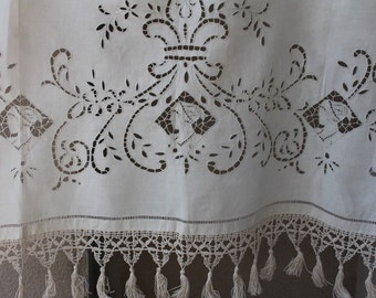 French antique curtain, 1900-1920, totally hand stitched, antique valance, French antique swag,  linen curtains, Antique French home decor,