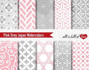 Pink Grey Digital Background Japan Scrapbooking Papers Watercolor Patterns Baby Shower Digital Paper Pack seamless patterns