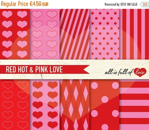 80% OFF RED PINK Paper Digital Scrapbooking Heart patterns Printable background Dots Stripes Diamonds valentines paper valentines day craft