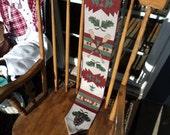 Cloth wall hanging with dowel hanger/green/beige/burgundy/oars/pine needles/ trees/ rustic