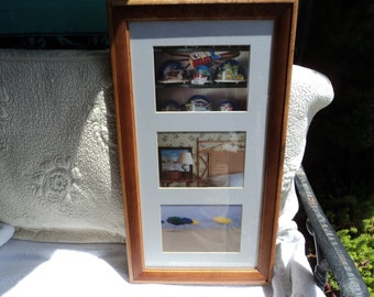 wooden frame/ matted for three prints/ can be displayed either way/ready to hang/glass/ identical to previous listing