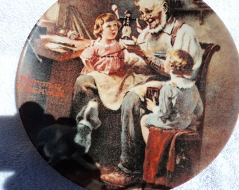 Norman Rockwell Christmas plate/ Two children on Santa's lap/ clothes of the last century/ little boy/ young girl/retro Santa