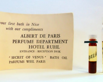 Vintage 1950s Zibeline by Weil Bath Oil and Cologne Sample Vials from the Hotel Ruhl in France PERFUME