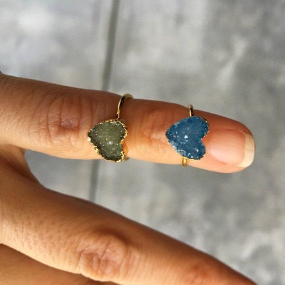 Midi Druzy rings, boho chic jewelry