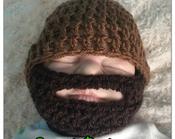 Baby boy crocheted,knitted hippie hippy, slouch or fitted beanie,unique designer,kids newborn hats, shower gifts beard bearded dark brown