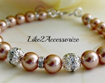 Bridal Bracelet, White Ivory Rose Gold Bracelet, Bridesmaid Bracelet, Wedding Pearl Jewelry, Bridal Jewelry, Bidesmaid Gift Vintage Bracelet