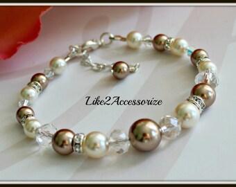 Bridal Bracelet, Bridesmaid Bracelet, Wedding Pearl Bracelet, Bridesmaid Jewelry, Crystal Bracelet, Swarovski Pearls Ivory Vintage Bracelet