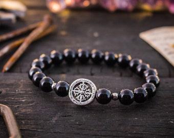 8mm - Black onyx beaded stretchy bracelet with a silver cross, made to order black bracelet, mens bracelet, womens bracelet, bead bracelet