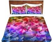 COLOR ME FLORAL 4 Ombre Watercolor Duvet Cover Fine Art Bedroom King Queen Twin Size Home Decor Dorm Flower Pattern Bedding Rainbow Colorful