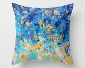 HYPNOTIC BLUE SUNSET Cobalt Yellow White Ombre Splash Painting Throw Pillow Cover 16x16 18x18 20x20 Square Waves Colorful Nature Abstract