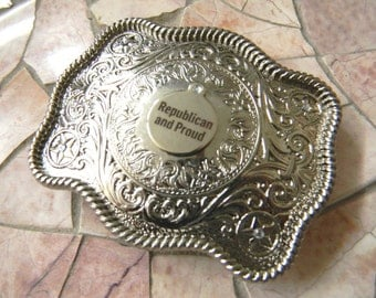 Republican Silver Belt Buckle, Pro President Donald Trump, GOP Politics, Mens Womens Conservative Political Gifts, America USA , Western