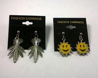 Vintage Rocker Fashion Earrings -  Leaf and Smiley Face - Pierced