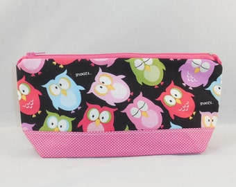 Zipper Pouch Made With Colorful Owl Fabric For Makeup Bag Or Cell Phone Pouch