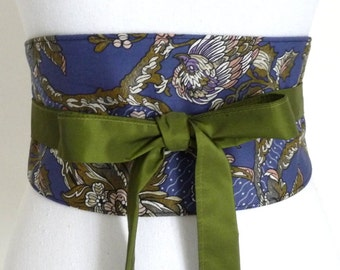 """Reversible Obi Belt """"Blue Melody"""", Fall-Winter Collection 2015, blue with oriental style bird, oriental, waist clencher by Lorella Créations"""
