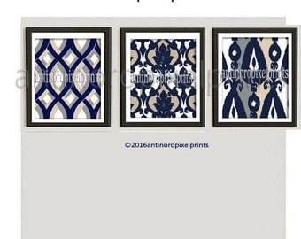 Art Ikat Dark Navy Khaki White illustration Wall Art Picture - Set of (3) - 16x20 Prints - (UNFRAMED) #265749674