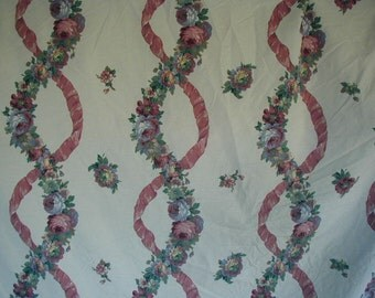 Vintage Bed Sheet, Fitted Sheet, King Size, Floral Stripe, Dark Mauve and Blue,  Ribbons and Flowers