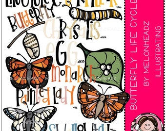 Butterfly life cycle clip art - COMBO PACK