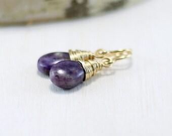 Charoite Earrings, 14K Gold Filled Purple Stone Earrings Wire Wrapped Drop Dangle Earrings Yellow Gold Charoite Jewelry