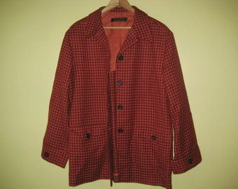 Vintage BROOKS BROTHERS Jacket 100% Wool Coat Button Front Orange Purple Plaid Check Checkered Made in USA