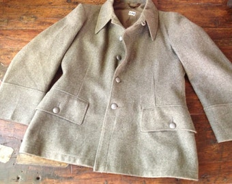 1950s Swiss Army Wool Peacoat Coat Grey Field Jacket 44 Chest