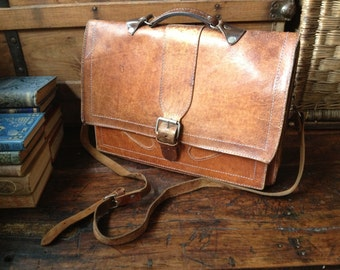 Rustic Brown Leather Briefcase Messenger Satchel Handcrafted