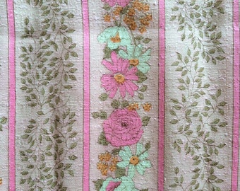 60s Hot Pink Roses and White Daisies Vintage Fabric Mid Century Mod Striped Home Decor Leafs Vines Tangerine Orange 2 Yards Cute Bright Fun