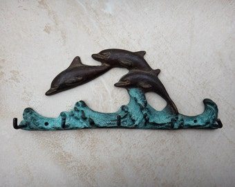 Vintage Brass Jumping Dolphins Wall Hook Hangers