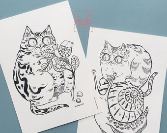 Snail Mail Cats - Postcard Set of 2 - 4.25x6