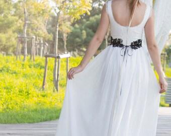 Wedding Dress, Boho Wedding Dress, Gypsy Wedding Dress, Ivory Wedding Dress, Bridal Dress, Kep Sleeves Gown, Handmade Gown, SuzannaM Designs