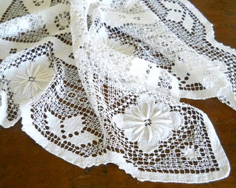 antique filet lace tablecloth vintage cluny style tablecloth  lace tablecloth handmade lace tablecloth vintage antique tablecloth