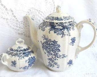 vintage tea set blue tea set stoneware tea set shabby chic Boch Valeria vintage tea pot blue stoneware teapot tea pot blue tea set