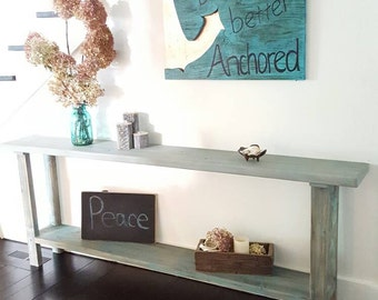 Drifted turquoise beachy entry sofa hall console table