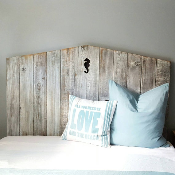 "56"" tall Queen reclaimed wood beach headboard with seahorse detail"