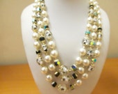 JAPAN Vintage Triple Strand Faux Pearl, Crystal and Art Glass Beaded Necklace Item K # 561