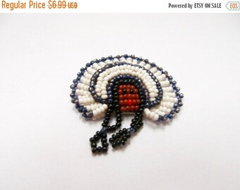 ON SALE Vintage Native American Indian Hand Beaded Pin Item K # 2053