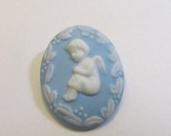 On Sale Vintage Porcelain Blue and White Cherub Pin Item K # 2470