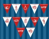 Alice in Wonderland Teatime Red and White Decorative Bunting Printable