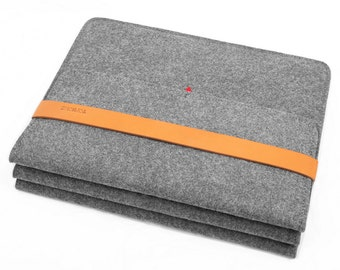 "13''Macbook Case Macbook Sleeve Macbook Bag Tablet Sleeve Wool Felt Laptop Sleeve with Italian Thick Leather Strap for Air 13""  Macbook"