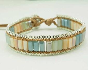 Pastel color crystal wrap bracelet