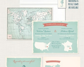Bilingual Destination wedding invitation RSVP card World map wedding International wedding  France Aqua blue corral colors