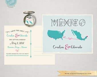 Destination Wedding Save the Date Card USA Mexico Wedding card with maps and airplanes lines decorative Mexican blue coral pink fuchsia
