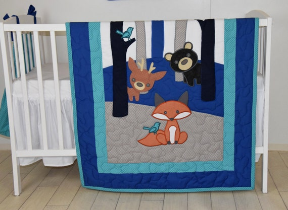 Fox Crib  Blanket, Teal Navy  Gray Nursery, Baby Boy Quilt, Woodland Crib Bedding, Forest Blanket,  Custom Made