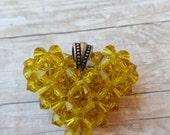 Citrine Yellow Swarovski crystal heart. Clearance.