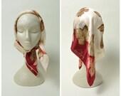 Vintage Silk Scarf Designer Anne Fogarty Burgundy Fall Leaves Hand Rolled