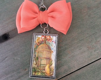 Sweet Bird Cage Necklace/Victorian/Cottage Chic/Whimsical